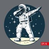 Astronauta que frota en la luna, ejemplo del vector ilustración del vector