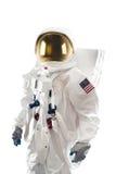 Astronauta que se coloca en un fondo blanco Imagenes de archivo