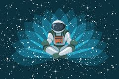 Astronauta que se sienta en la posición de loto, meditando, flotación de relajación en espacio stock de ilustración