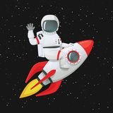 Astronauta que se sienta a horcajadas en la nave del cohete que agita una mano y que toca la nave con la otra libre illustration