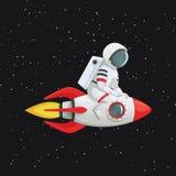 Astronauta que se sienta a horcajadas en la nave del cohete que se sostiene sobre la nave con ambas manos libre illustration