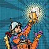 Astronauta retro e uma caneca de cerveja ilustração do vetor