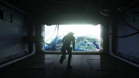 Astronauta skacze w przestrzeń widok ziemia Zero spoważnienie filmowy 4k materiał filmowy ilustracja wektor