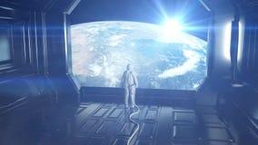 Astronauta solo in astronave futuristica, stanza vista della terra metraggio cinematografico 4k illustrazione vettoriale
