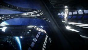Astronauta solo in corridoio futuristico dello spazio, stanza vista della terra metraggio cinematografico 4k royalty illustrazione gratis