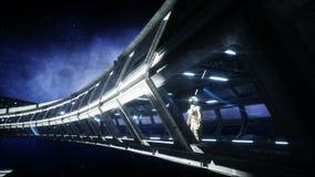 Astronauta solo in corridoio futuristico dello spazio, stanza vista della terra metraggio cinematografico 4k illustrazione di stock