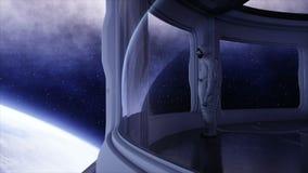 Astronauta solo en la nave espacial futurista, sitio vista de la tierra cantidad cinemática 4k
