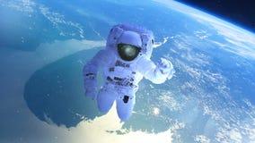 Astronauta sopra la terra nello spazio aperto illustrazione di stock