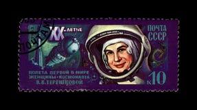 Astronauta soviético Valentina Tereshkova, ?a mulher no espaço, canela do foguete, 20o aniversário do voo espacial, URSS, cerca d Fotografia de Stock
