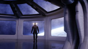 Astronauta sozinho na nave espacial futurista, sala vista da terra metragem 4k cinemático ilustração royalty free