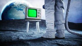 Astronauta sozinho na tevê velha do relógio de lua Seguindo seu índice rendição 3d ilustração royalty free