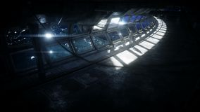 Astronauta sozinho no corredor futurista do espa?o, sala vista da terra metragem 4k cinem?tico ilustração stock