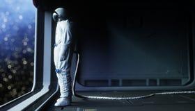 Astronauta sozinho no espaço Corredor futurista de Sci fi vista da terra rendição 3d ilustração royalty free