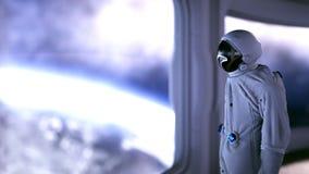 Astronauta sozinho no interior futurista Opinião da sala de Sci fi da terra rendição 3d ilustração do vetor