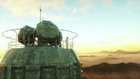 Astronauta sozinho no planeta estrangeiro Marciano na base do metal Conceito futuro 4K ilustração royalty free