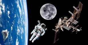 Astronauta Space del satélite de tierra Fotos de archivo
