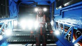 Astronauta spacer w statku kosmicznego wnętrzu martian Fantastyka naukowa pojęcie Realistyczna 4K animacja royalty ilustracja