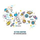 Astronauta su spazio con il razzo Concetto di scienza di istruzione di vettore dell'universo illustrazione di stock