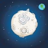 Astronauta sulla luna Immagini Stock Libere da Diritti