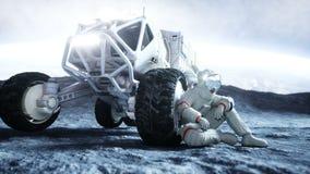 Astronauta sulla luna con il girovago Animazione realistica 4K illustrazione di stock