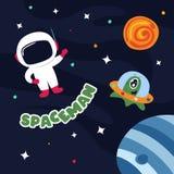 Astronauta sveglio nello spazio cosmico con alcuni pianeti e stelle illustrazione vettoriale