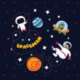 Astronauta sveglio nello spazio cosmico con alcuni pianeti e stelle illustrazione di stock