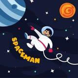 Astronauta sveglio nello spazio cosmico con alcuni pianeti e stelle royalty illustrazione gratis