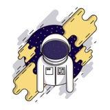 Astronauta sveglio nello spazio cosmico in tuta spaziale ed in casco Illustrazione cosmica Progettazione piana moderna di stile Fotografia Stock