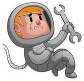 Astronauta triste Holding una chiave Fotografie Stock