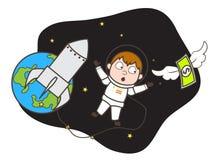 Astronauta Trying de la historieta para coger el dinero en el ejemplo del vector de espacio ilustración del vector