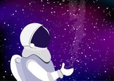Astronauta in una tuta spaziale che galleggia nello spazio cosmico Astronauta sui precedenti della nebulosa stellata del cielo e  illustrazione vettoriale