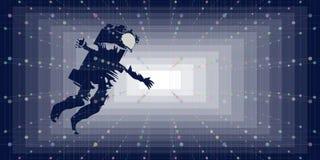 Astronauta w abstrakcjonistycznym technologii kosmicznej tle Futurystyczna eksploracja przestrzeni kosmicznej i technologia ilustracja wektor