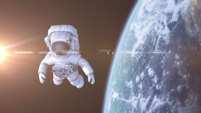 Astronauta w przestrzeni 3d animacja, 4K royalty ilustracja