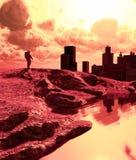 Astronauta w zaniechanym mieście ilustracji