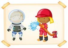 Astronauta y bombero Imagen de archivo