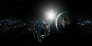 Astronauta y estación espacial internacional ilustración del vector