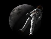 Astronauta y luna Imagenes de archivo