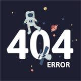 Astronauta y naves espaciales en espacio exterior Error del mensaje de advertencia 404 del texto Oops página de 404 errores, plan ilustración del vector