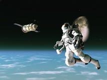 Astronauta y satélite stock de ilustración