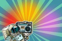 Astronauta z Boombox, audio i muzyką, ilustracja wektor