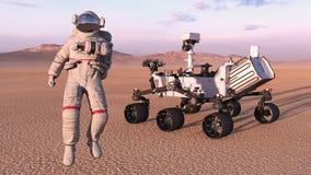 Astronauta z mąci włóczęgi, kosmonauta obok mechanicznego astronautycznego autonomicznego pojazdu na opustoszałej planecie, 3D od ilustracja wektor