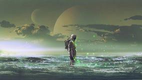 Astronautanseende vid havet royaltyfri illustrationer