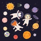 Astronautas animais bonitos ilustração royalty free