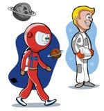 Astronautas de la historieta Imágenes de archivo libres de regalías