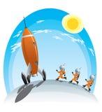 Astronautas e o foguete Fotos de Stock Royalty Free