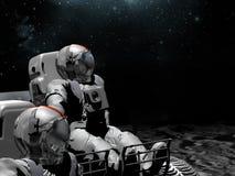 Astronautas en la luna stock de ilustración