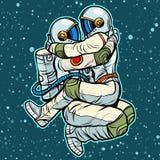 Astronautas homem e aperto da mulher Pares apaixonado 'sexy' ilustração do vetor