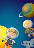 Astronautas que exploran la galaxia Fotografía de archivo libre de regalías