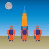 Astronautas y el cohete Foto de archivo