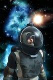 Astronautastronaut med bakgrundsnebulosan Arkivfoto